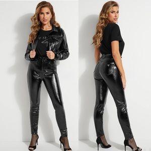 GUESS Petra High-Rise Coated Denim Jeans